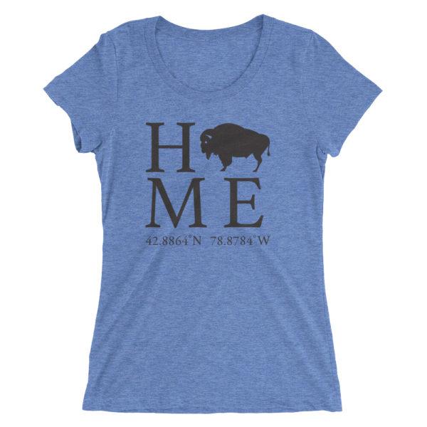 Buffalo Latitude and Longitude Home Ladies' short sleeve t-shirt