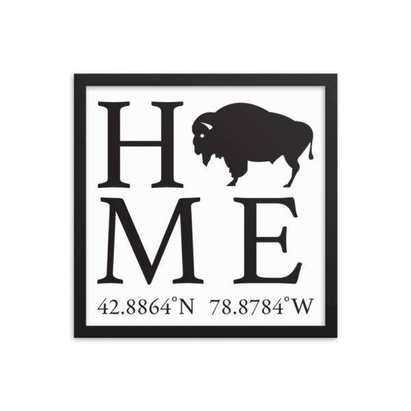 Buffalo Latitude and Longitude Home Framed Print