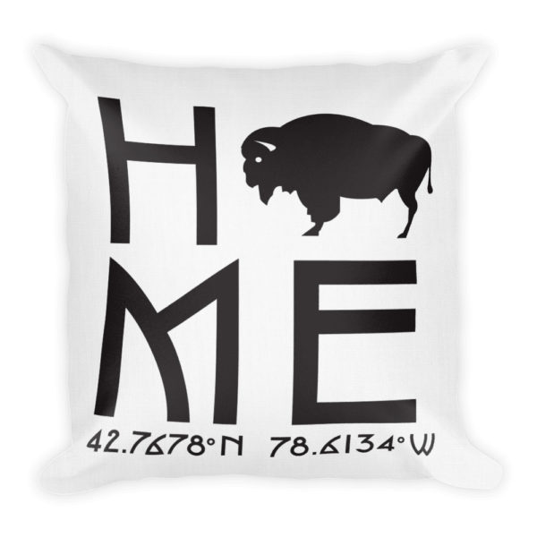 East Aurora Latitude and Longitude Home Throw Pillow